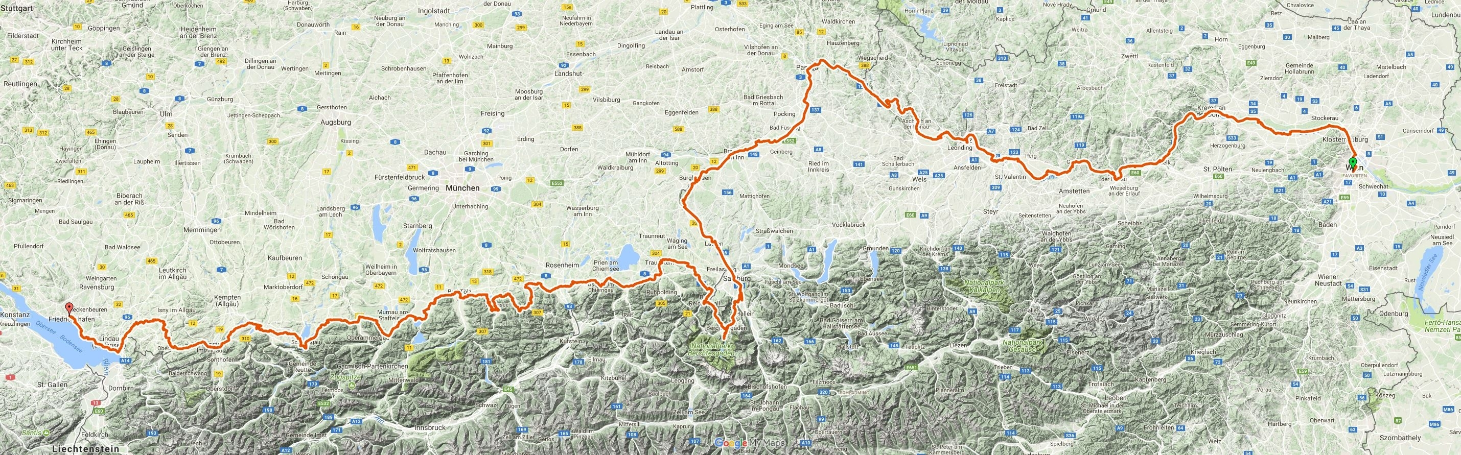 Geplante Route Wien - Passau - Salzburg - Königssee - Bodensee