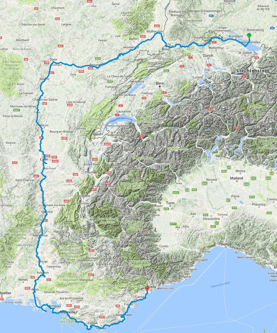 Geplante Route Friedrichshafen Nizza